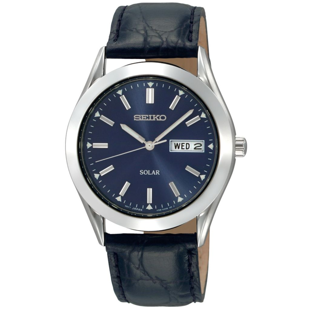 626-053 - Seiko 37.5mm Core Solar Quartz Day & Date Black Leather Strap Watch