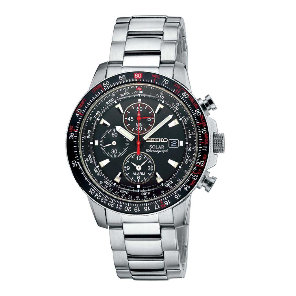 626-054 - Seiko 43mm Core Solar Quartz Chronograph Stainless Steel Bracelet Watch