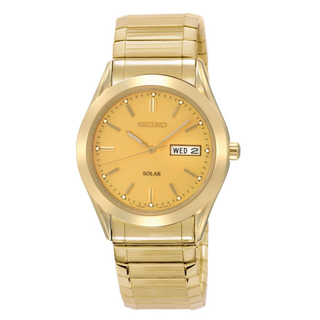 626-057 - Seiko 37.5mm Core Solar Quartz Day & Date Gold-tone Stainless Steel Expansion Bracelet Watch