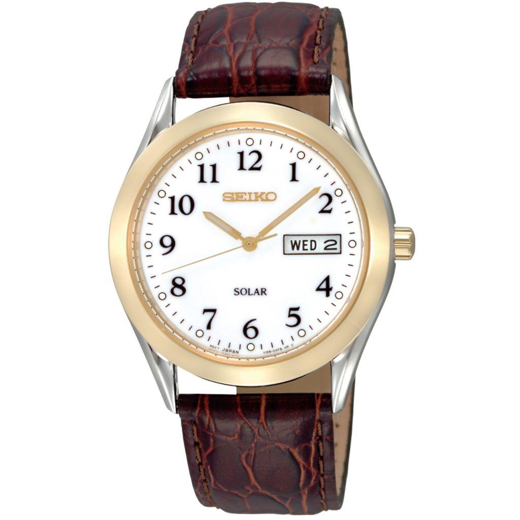 626-059 - Seiko 37.5mm Core Solar Quartz Day & Date White Dial Brown Leather Strap Watch