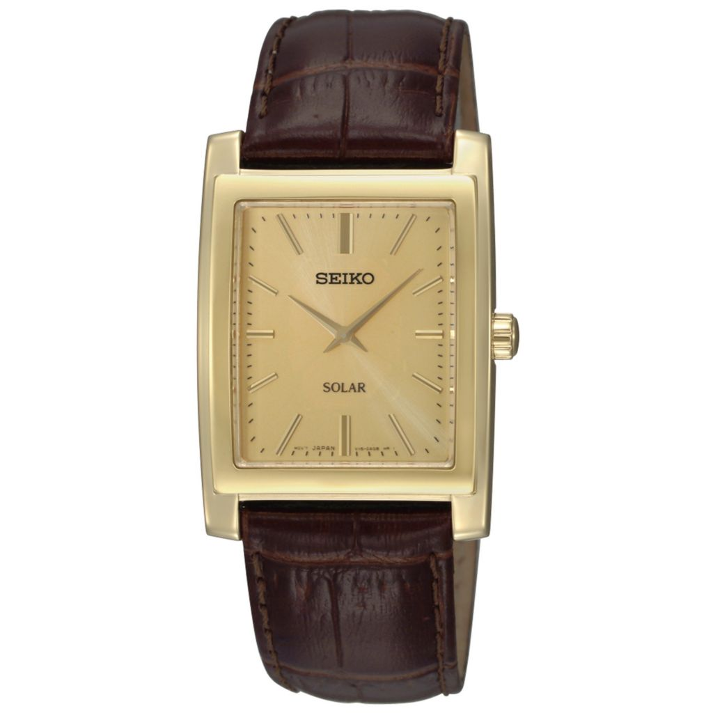 626-064 - Seiko Rectangular Core Solar Quartz Leather Strap Watch