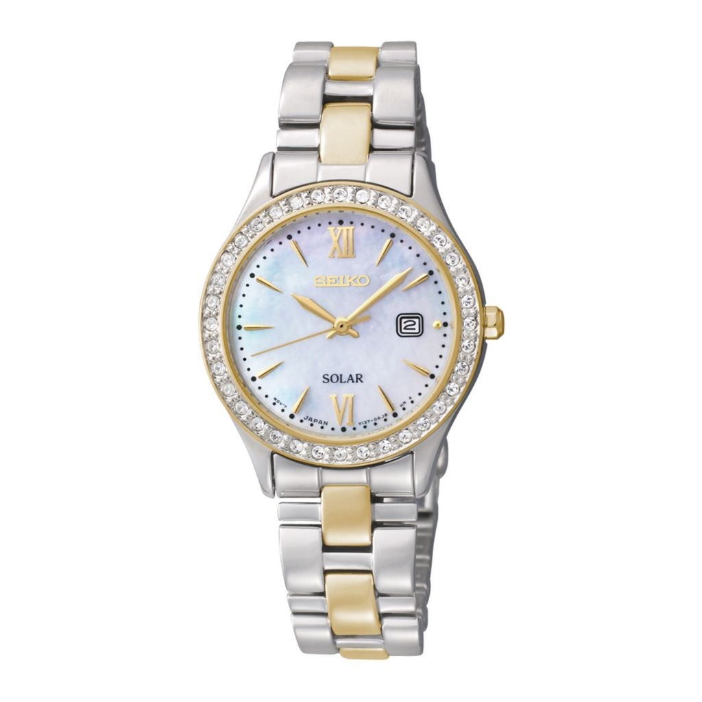 626-075 - Seiko Women's Core Solar Quartz Crystal Accent Two-tone Stainless Steel Bracelet Watch