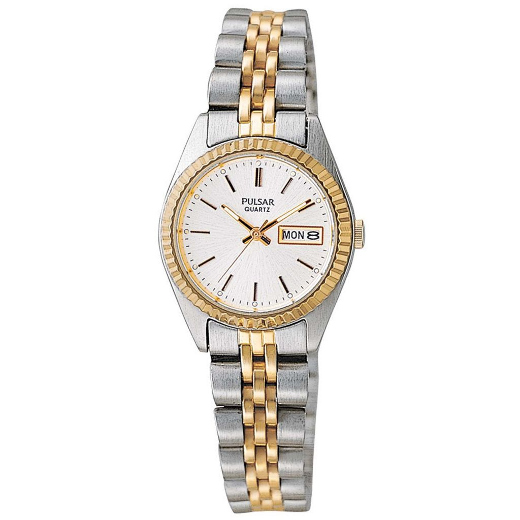 626-085 - Pulsar Women's Traditional Quartz Day & Date Stainless Steel Bracelet Watch