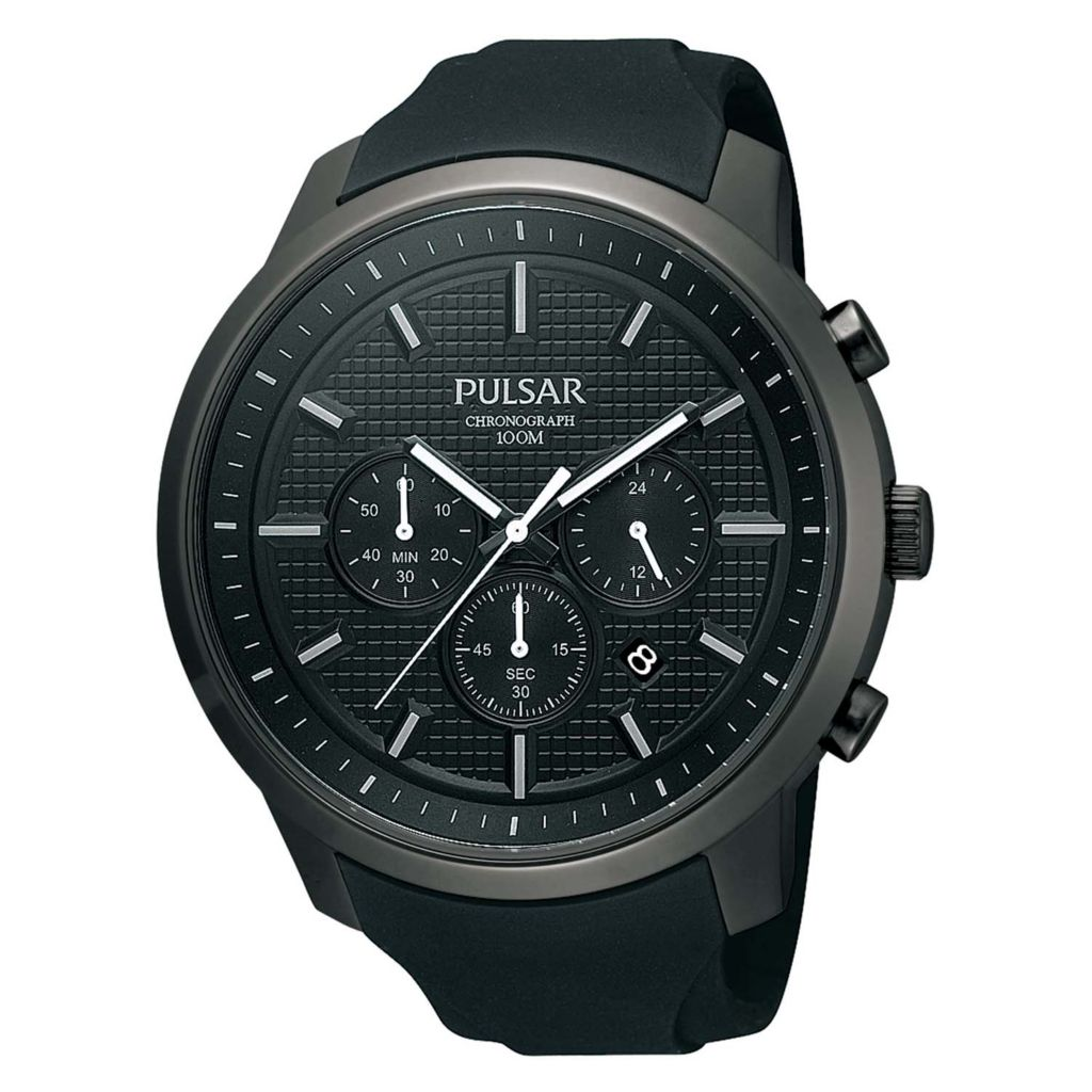 626-089 - Pulsar 46.5mm On The Go Quartz Chronograph Rubber Strap Watch