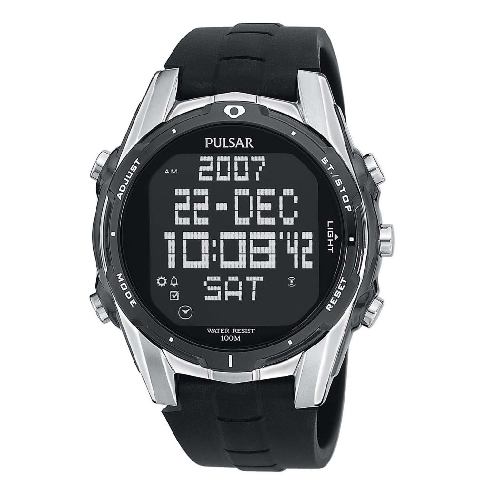 626-092 - Pulsar 42mm On The Go Digital Quartz World Time Rubber Strap Watch
