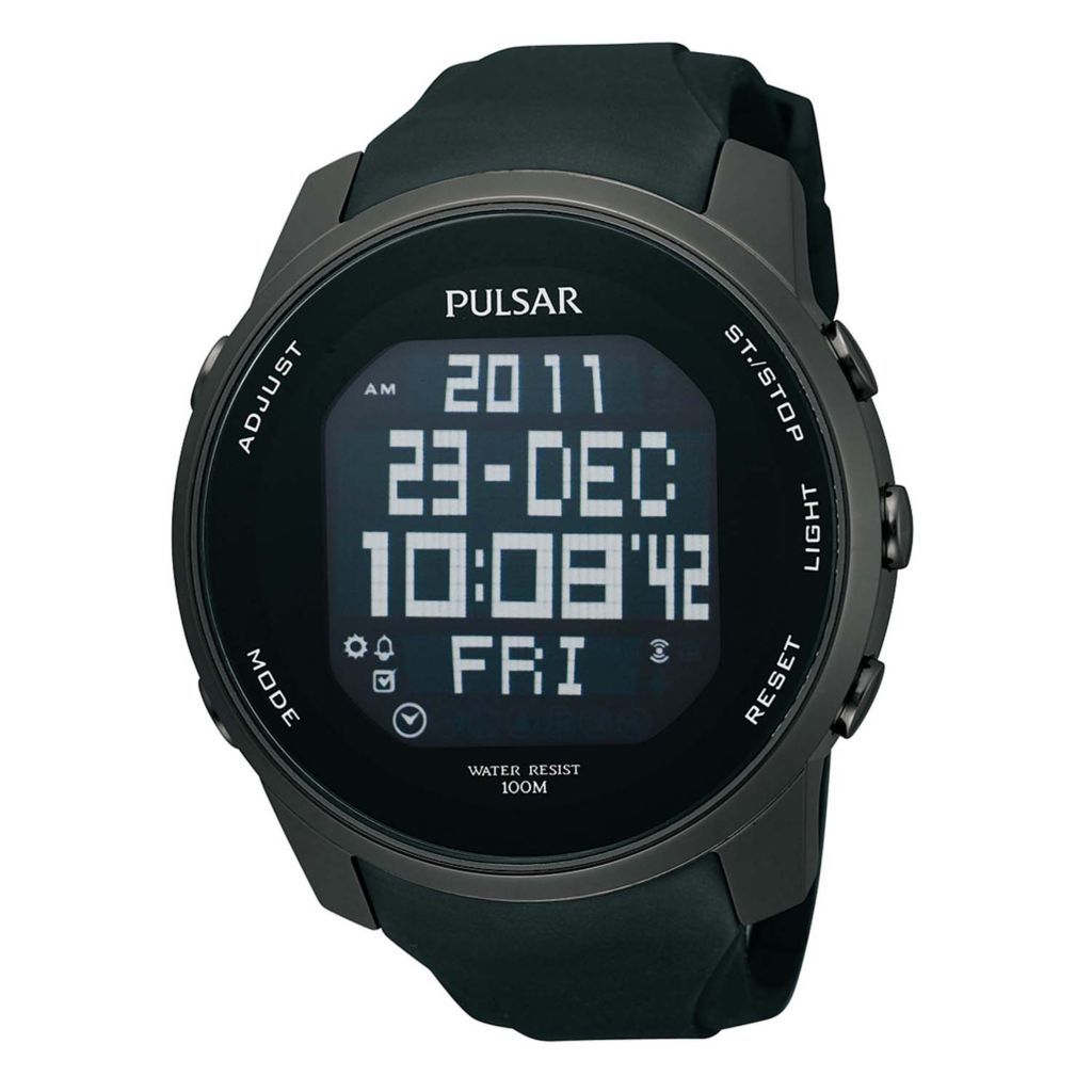 626-094 - Pulsar 47mm On The Go Digital Quartz World Time Rubber Strap Watch