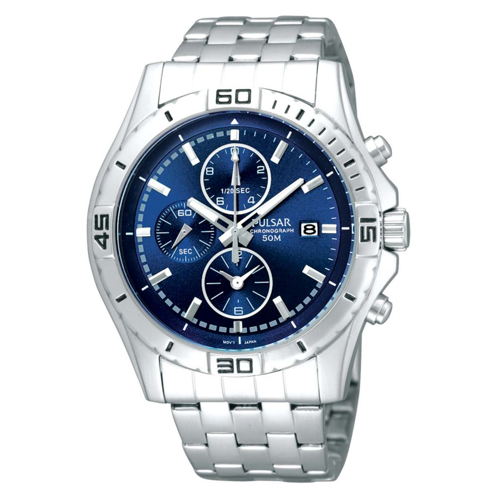 626-108 - Pulsar 42.5mm Business Quartz Chronograph Stainless Steel Bracelet Watch