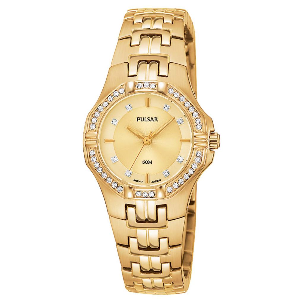 626-121 - Pulsar 27mm Night Out Quartz Mother-Of-Pearl Dial Crystal Accent Stainless Steel Bracelet Watch