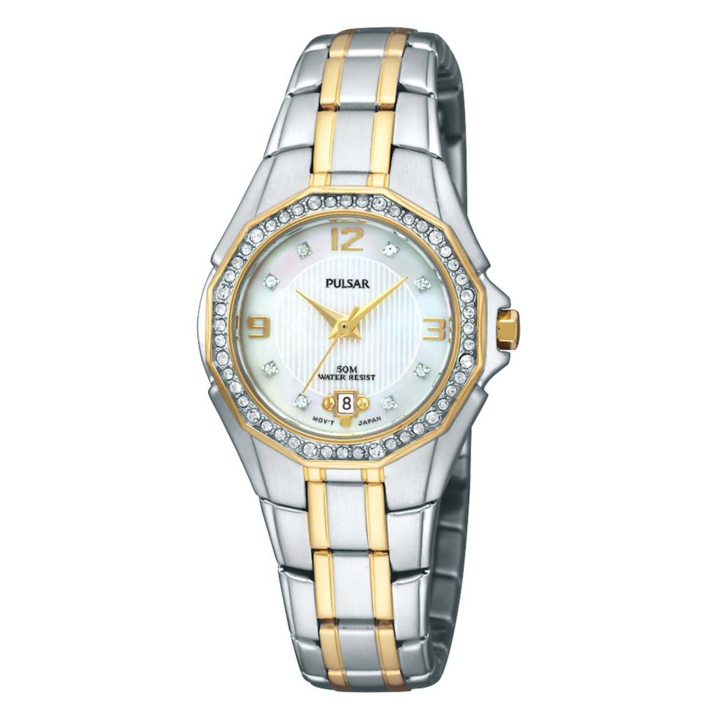 626-123 - Pulsar 27mm Night Out Quartz Mother-Of-Pearl Dial Crystal Accent Stainless Steel Bracelet Watch