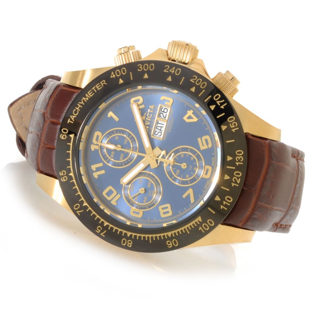 626-126 - Invicta Reserve 45mm Speedway Valjoux 7750 Stainless Steel Leather Strap Watch