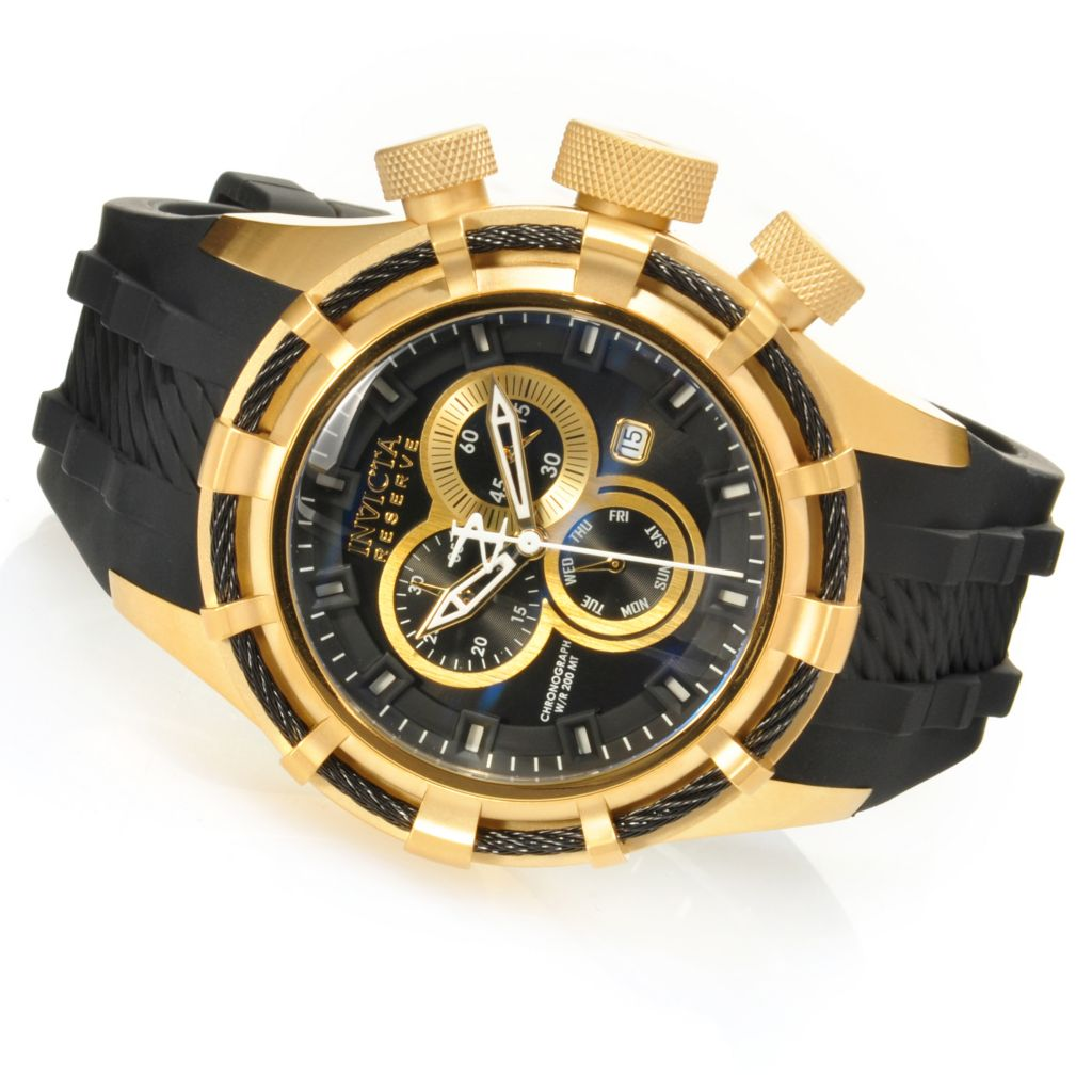 626-129 - Invicta Reserve 50mm Bolt Swiss Chronograph Silicone Strap Watch w/ Eight-Slot Dive Case