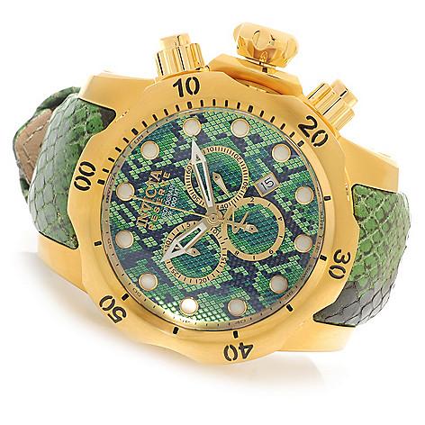 626-137 - Invicta Reserve 52mm or 42mm Venom Swiss Made Quartz Chronograph Leather Strap Watch