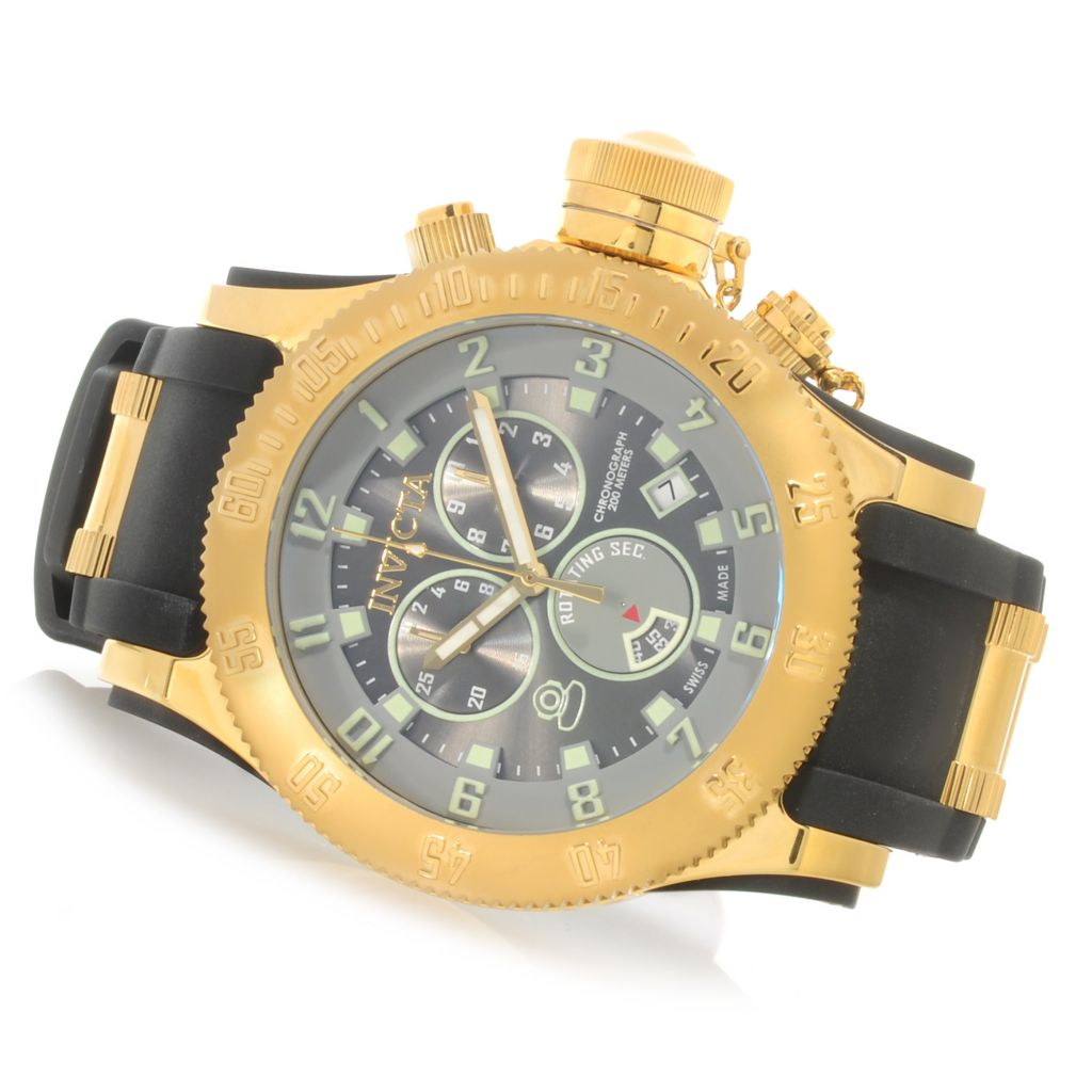 626-139 - Invicta 52mm Russian Diver Swiss Chronograph Polyurethane Strap Watch w/ Eight-Slot Dive Case
