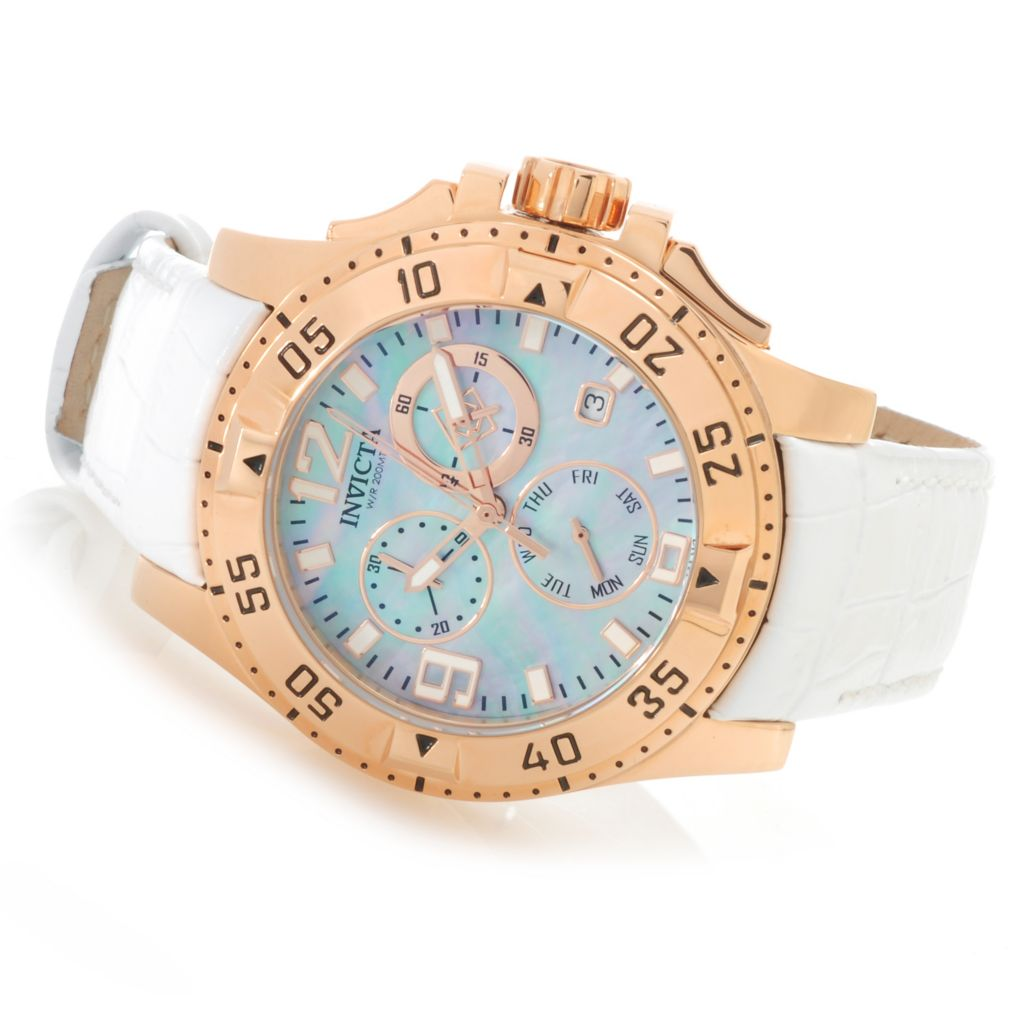 626-144 - Invicta Women's Excursion Quartz Chronograph Mother-of-Pearl Leather Strap Watch