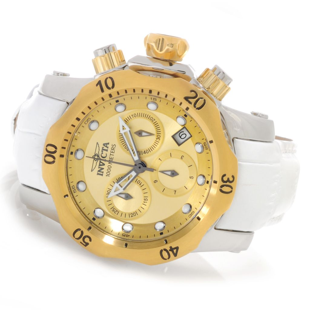 626-146 - Invicta Women's Venom Quartz Chronograph Stainless Steel Leather Strap Watch