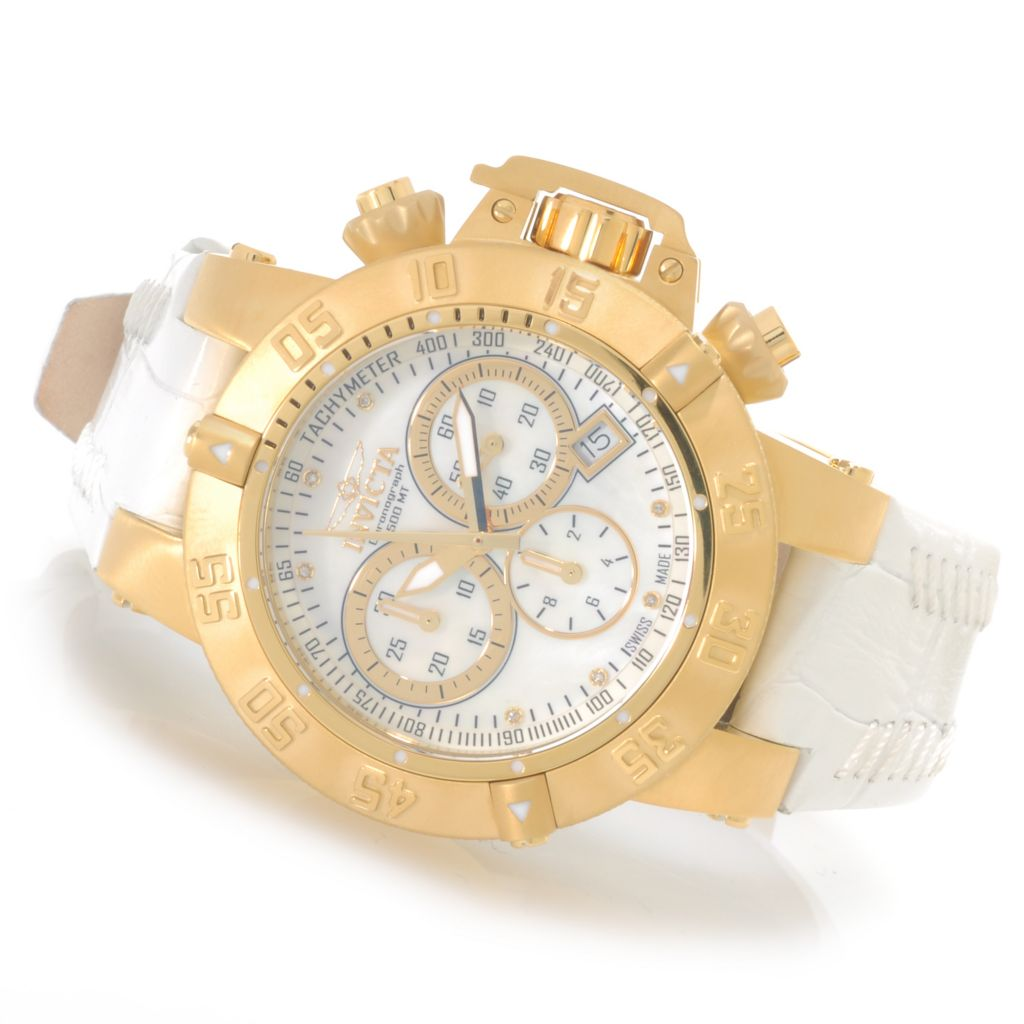 626-190 - Invicta Women's Subaqua Noma III Swiss Made Quartz Chronograph Leather Strap Watch