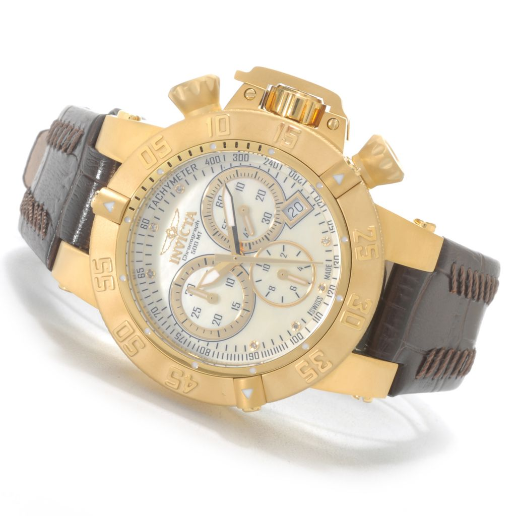 626-191 - Invicta Women's Subaqua Noma III Swiss Made Quartz Chronograph Stainless Steel Leather Strap Watch