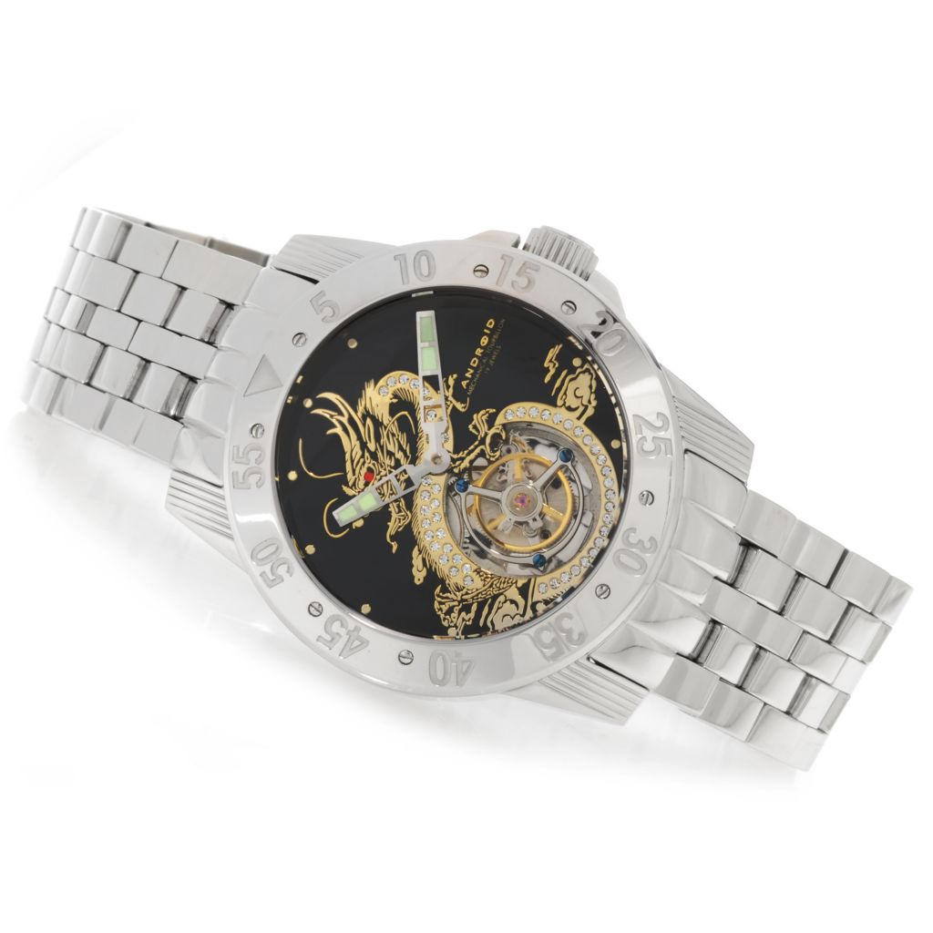 626-202 - Android 48mm Flying Dragon Tourbillon Stainless Steel Watch Made w/ Swarovski® Elements