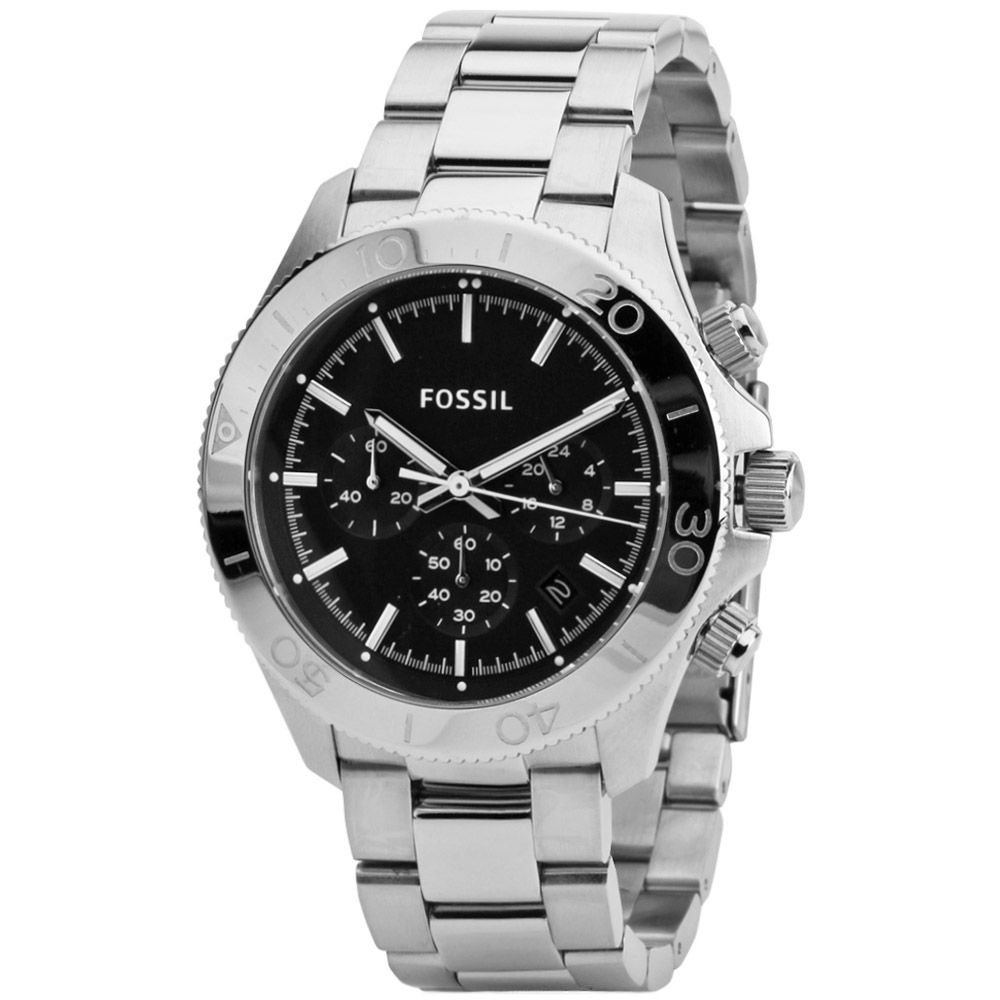 626-236 - Fossil 45mm Retro Traveler Quartz Chronograph Stainless Steel Bracelet Watch