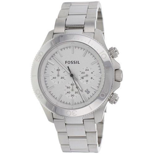 626-237 - Fossil 45mm Retro Traveler Quartz Chronograph Stainless Steel Bracelet Watch