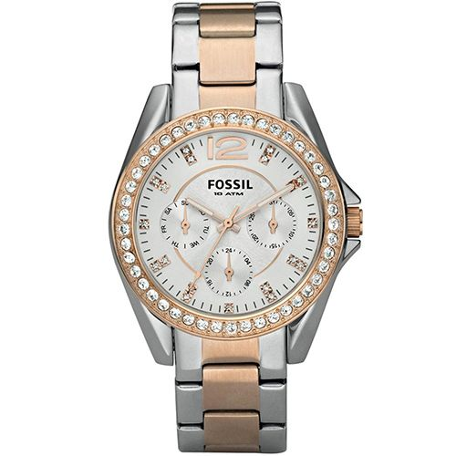 626-239 - Fossil Women's Riley Quartz Day & Date Stainless Steel Bracelet Watch