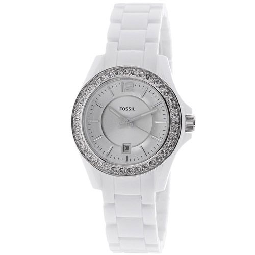 626-241 - Fossil Women's Riley Quartz Crystal Accented Bezel Resin Bracelet Watch