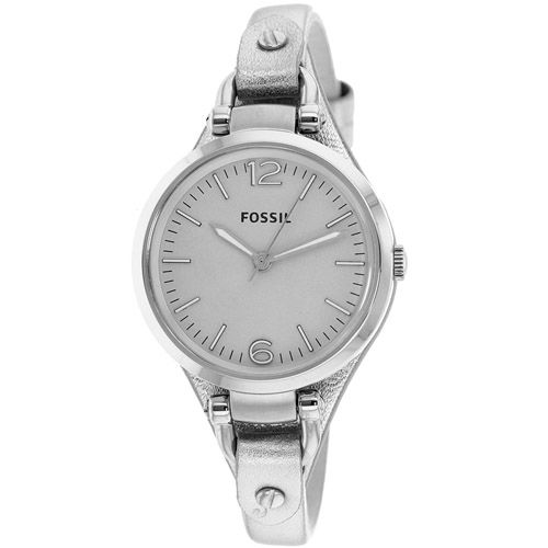 626-243 - Fossil Women's Georgia Quartz Silver-tone Stainless Steel Leather Strap Watch