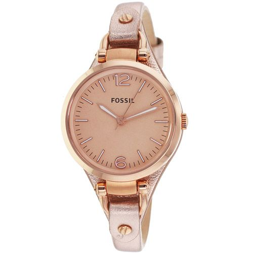 626-244 - Fossil Women's Georgia Quartz Rose-tone Stainless Steel Leather Strap Watch