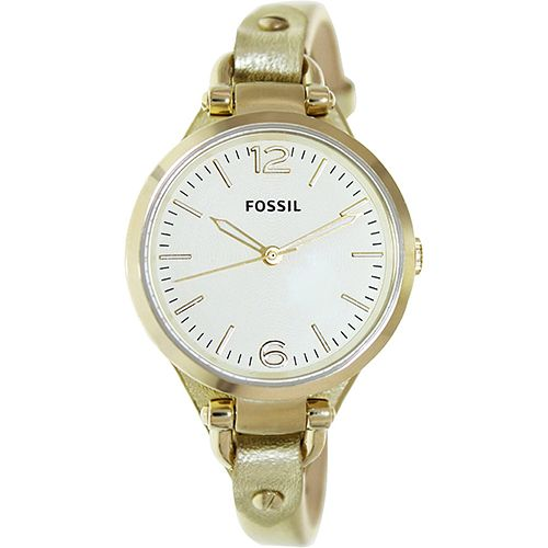 626-246 - Fossil Women's Georgia Mini Quartz Gold-tone Stainless Steel Leather Strap Watch