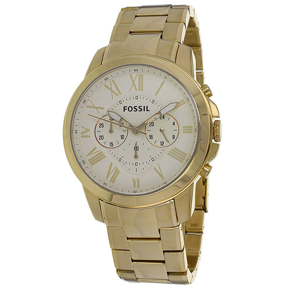 626-255 - Fossil 44mm Grant Quartz Chronograph Stainless Steel Bracelet Watch