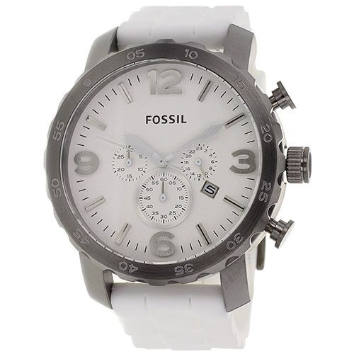 626-258 - Fossil 50mm Nate Quartz Chronograph White Silicone Strap Watch