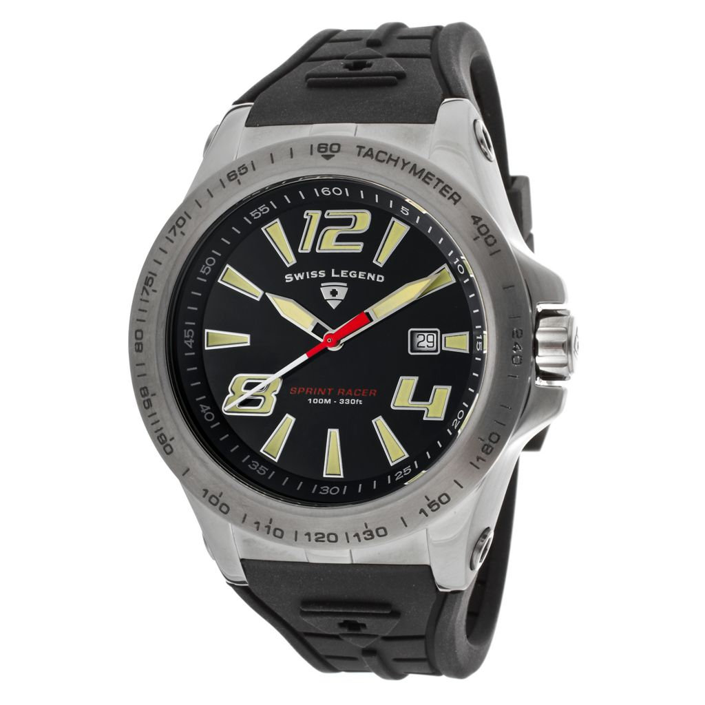 626-280 - Swiss Legend 46mm Sprint Racer Swiss Quartz Silicone Rubber Strap Watch