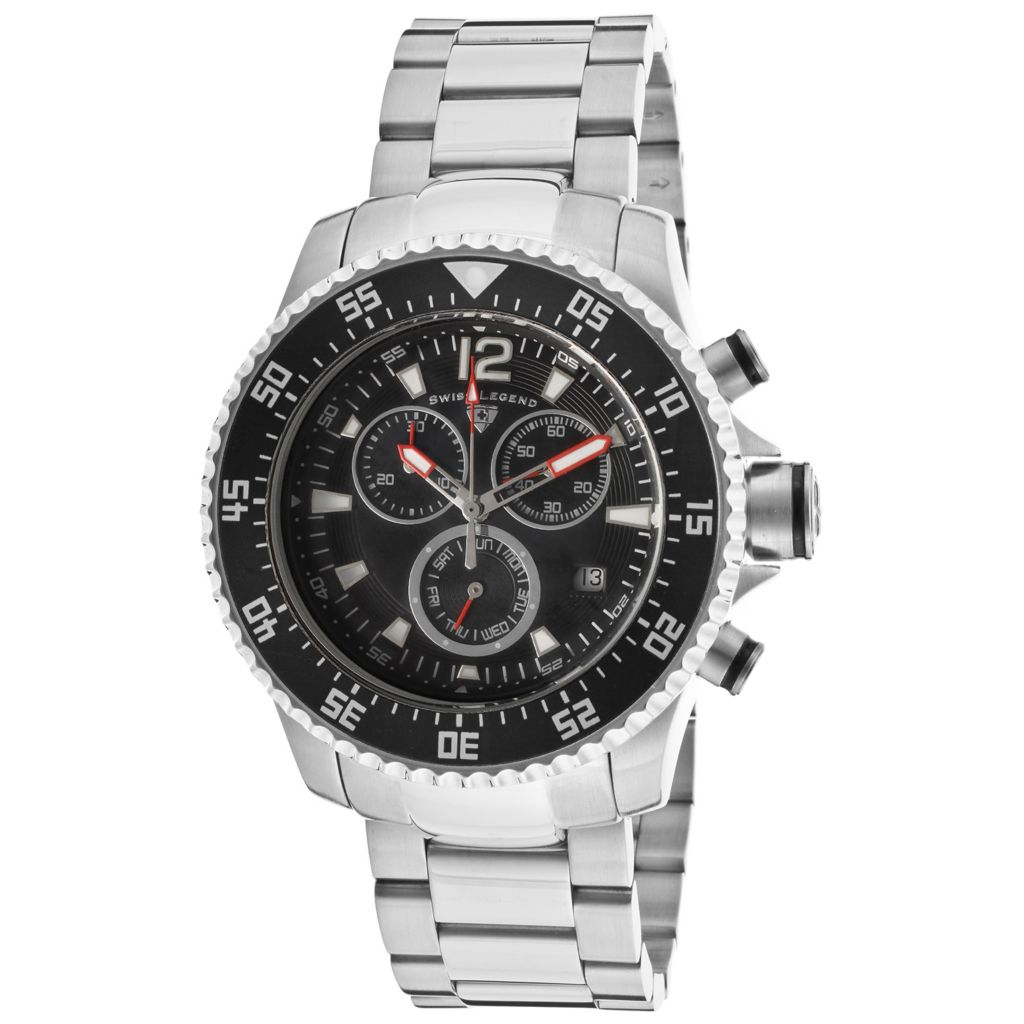 626-281 - Swiss Legend 43mm Sergeant Swiss Quartz Chronograph Stainless Steel Bracelet Watch