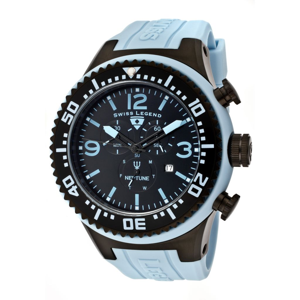 626-288 - Swiss Legend 52mm Neptune Swiss Quartz Chronograph Silicone Rubber Strap Watch