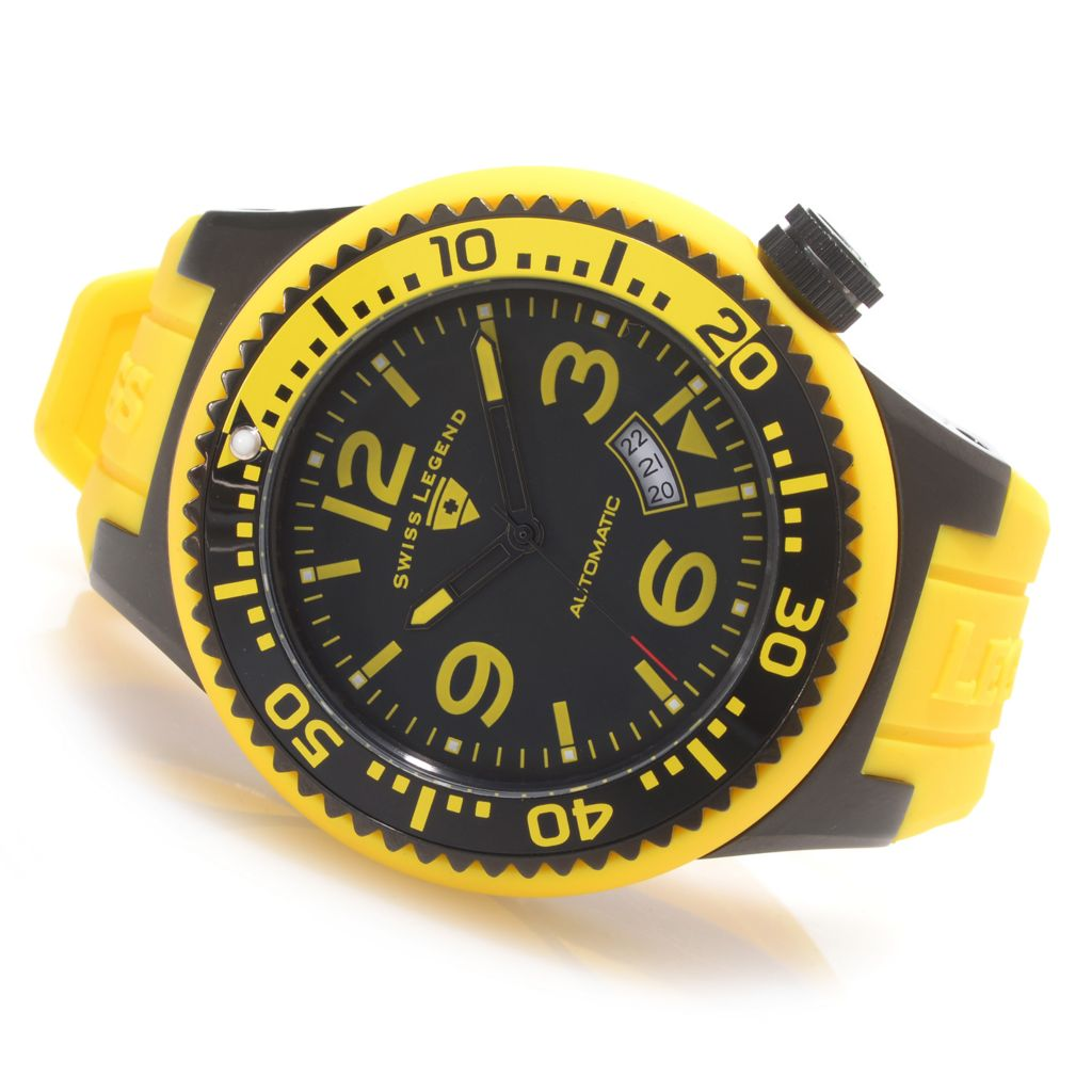 626-290 - Swiss Legend 52mm Neptune Swiss Made Automatic Silicone Rubber Strap Watch w/ Winder