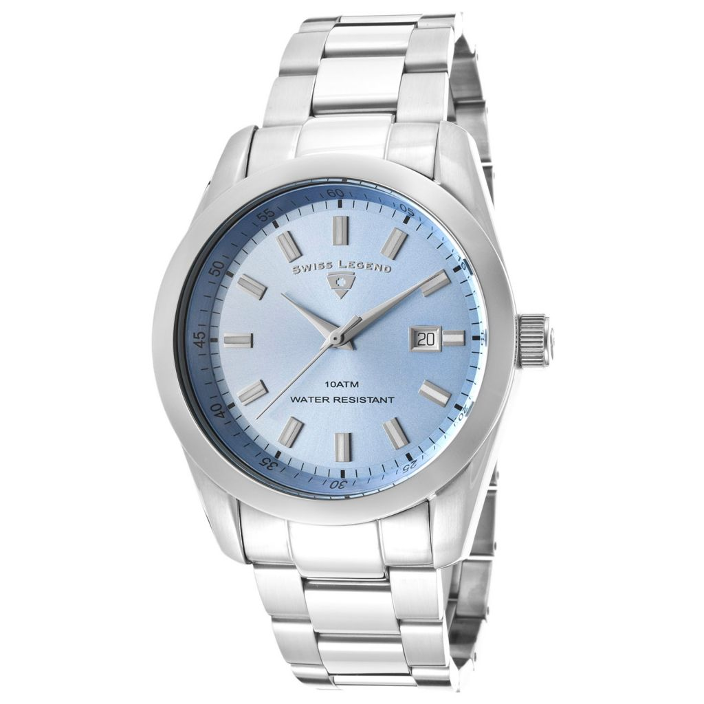 626-292 - Swiss Legend 45mm Classic Swiss Quartz Sunray Dial Stainless Steel Bracelet Watch