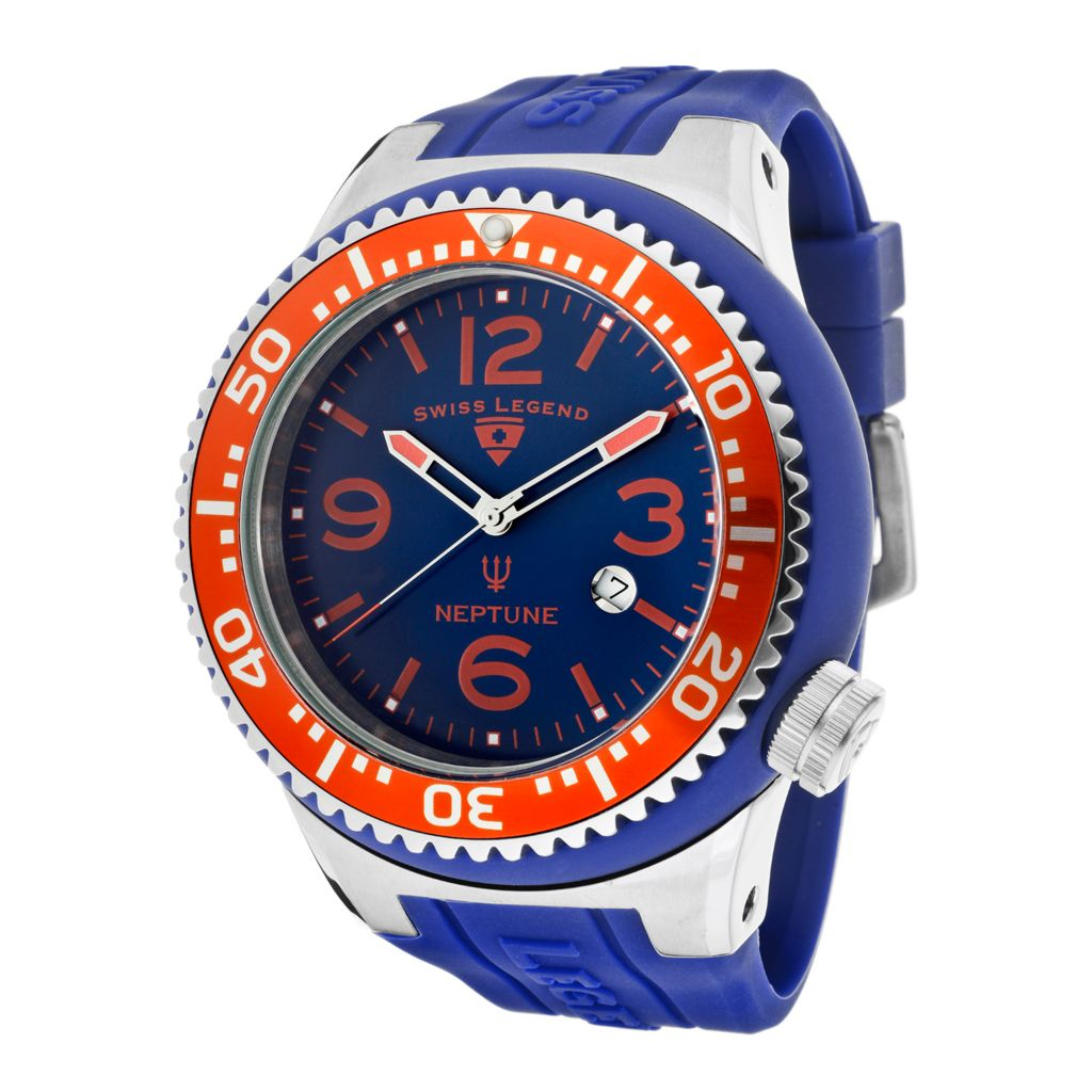 626-297 - Swiss Legend 52mm Neptune Quartz Colored Dial Silicone Strap Watch
