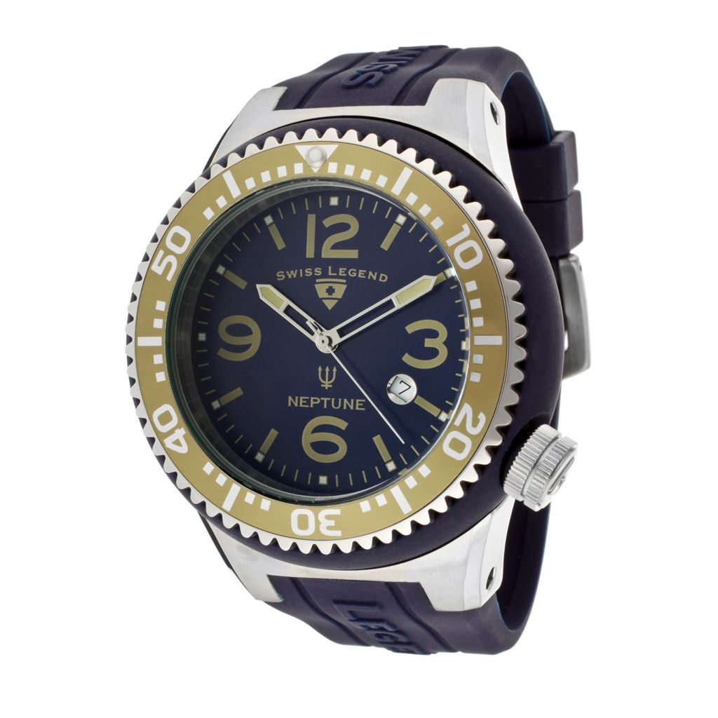 626-298 - Swiss Legend 52mm Neptune Quartz Silicone Strap Watch