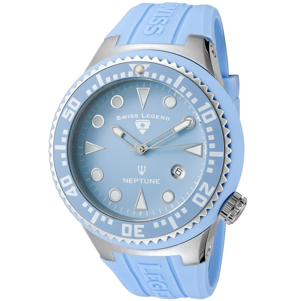 626-300 - Swiss Legend 48mm Neptune Swiss Quartz Silicone Strap Watch