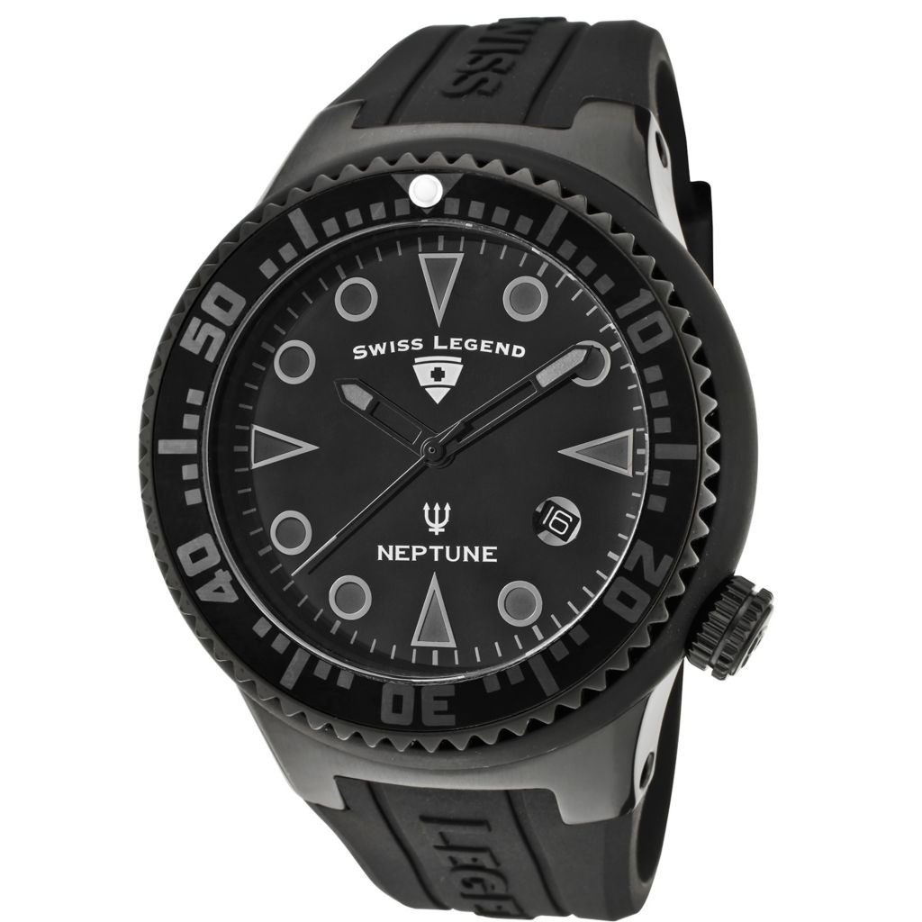 626-302 - Swiss Legend 48mm Neptune Phantom Swiss Quartz Silicone Strap Watch