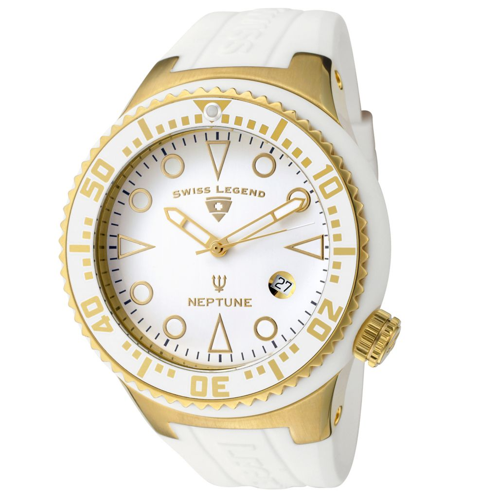 626-303 - Swiss Legend 48mm Neptune Swiss Quartz Gold-tone Stainless Steel Silicone Strap Watch