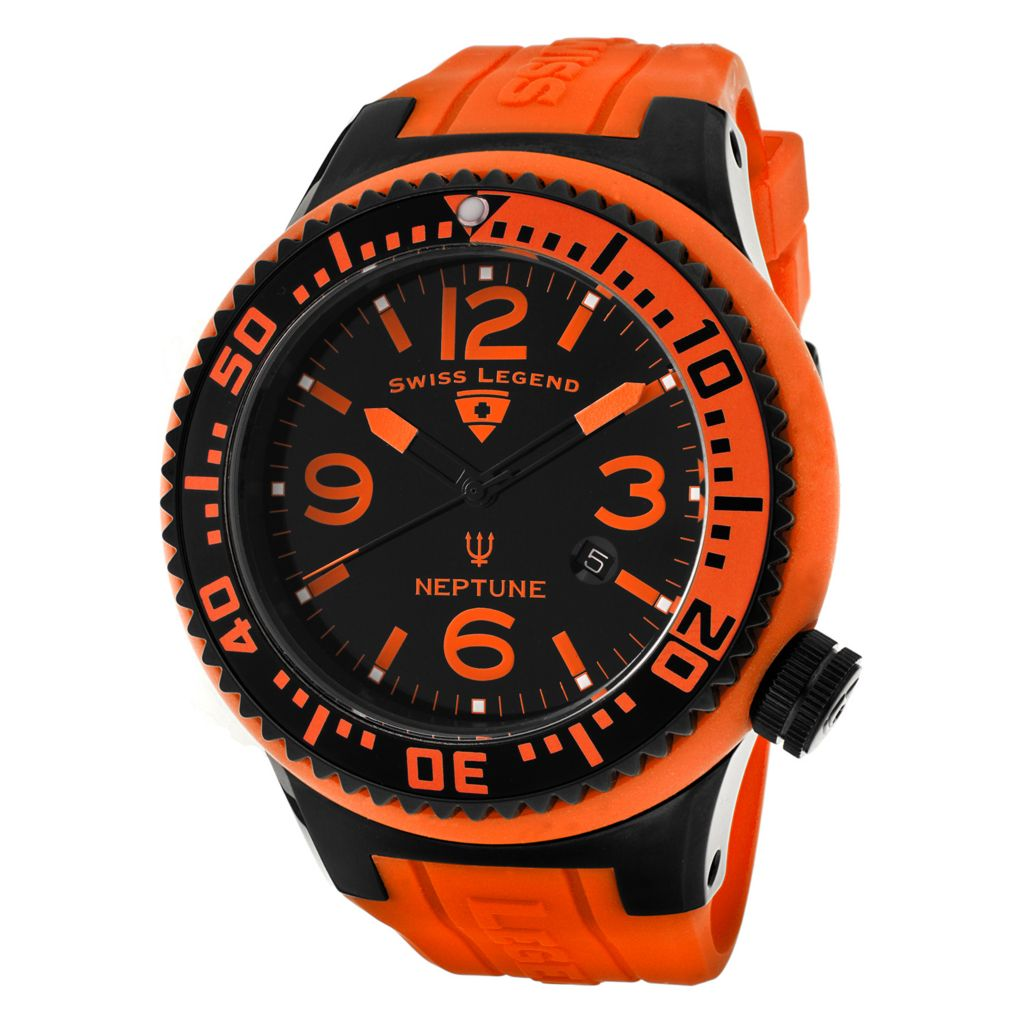 626-306 - Swiss Legend 52mm Neptune Pilot Swiss Quartz Silicone Rubber Strap Watch
