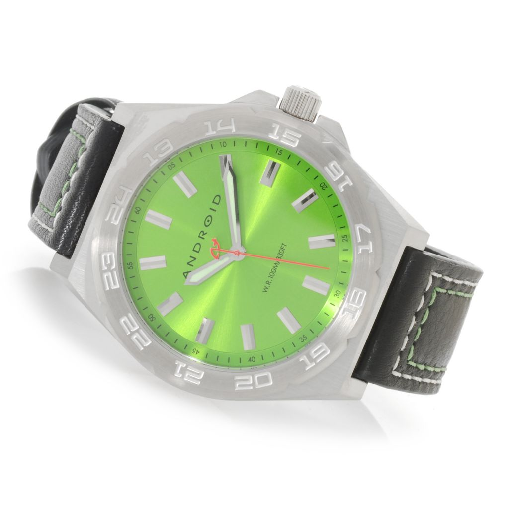 626-312 - Android 47mm Interceptor Quartz Stainless Steel Case Leather Strap Watch