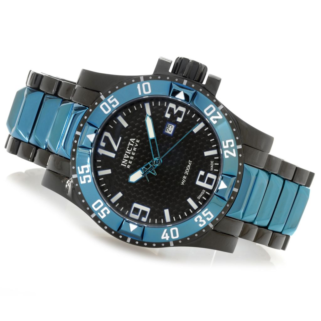 626-317 - Invicta Reserve 50mm Excursion Swiss Made Quartz Carbon Fiber Dial Bracelet Watch