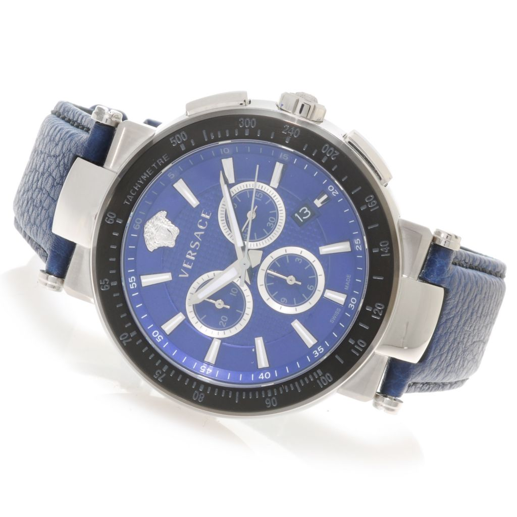 626-319 - Versace 46mm Mystique Sport Swiss Made Quartz Chronograph Leather Strap Watch