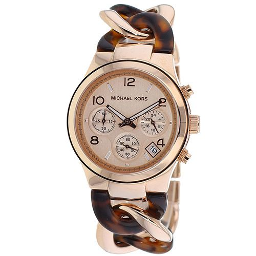 626-322 - Michael Kors Women's Twist Quartz Chronograph Tortoise Stainless Steel Bracelet Watch