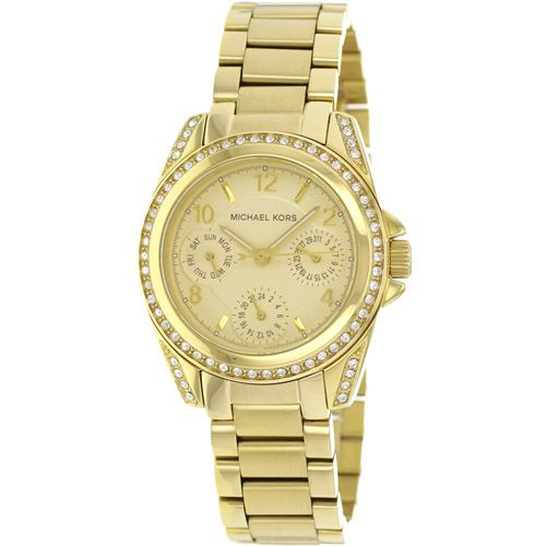626-326 - Michael Kors 33mm Blair Mini Quartz Day & Date Crystal Bezel Bracelet Watch