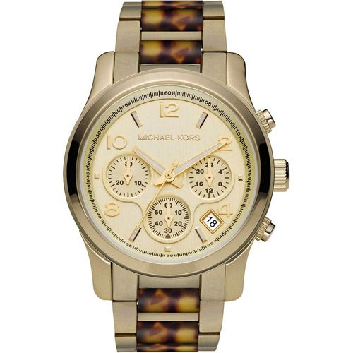 626-328 - Michael Kors Women's Runway Quartz Chronograph Goldtone & Faux Tortoise Bracelet Watch