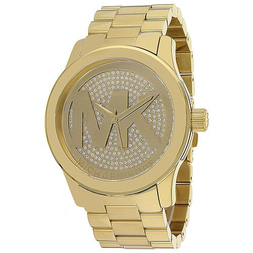 626-330 - Michael Kors Women's Runway Quartz MK Logo Crystal Accent Gold-tone Bracelet Watch