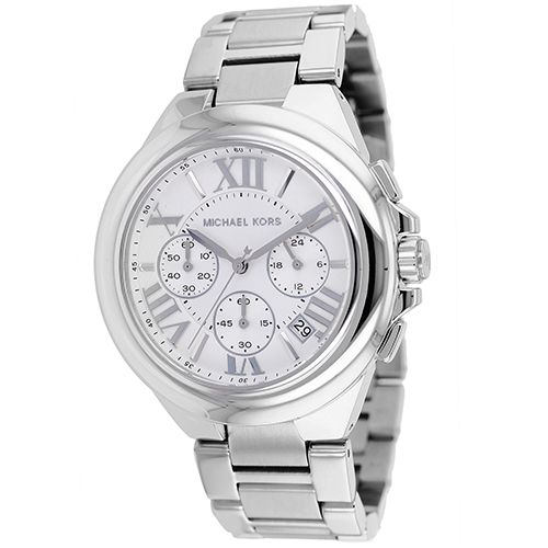 626-331 - Michael Kors Women's Camille Quartz Chronograph Silver-tone Stainless Steel Bracelet Watch